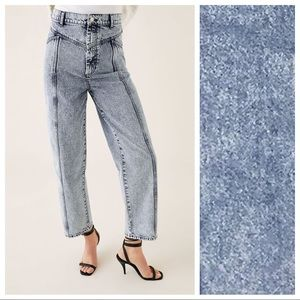 NWT. Zara Acid Blue 80'S Baggy Fit Jeans. Size 2.